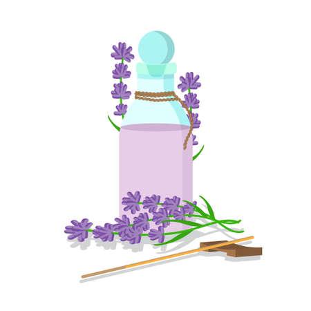 lavender oil: vector illustration of essential oil of lavender with sticks