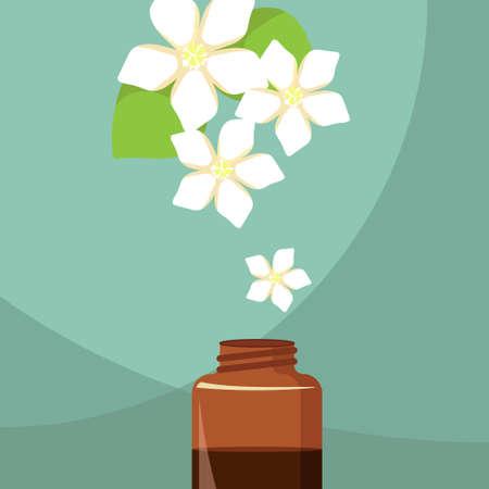 essential: vector illustration of essential oil of bitter orange on the green background Illustration