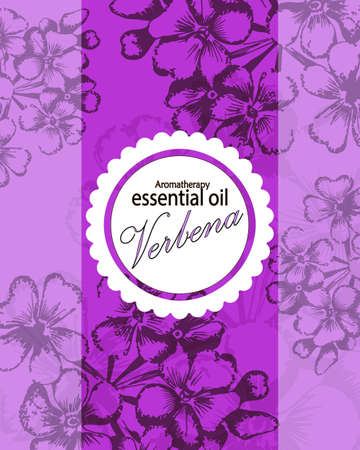 essential oil: label for essential oil of verbena with hand drawn flowers Illustration