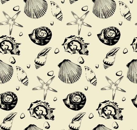 hull: seamless pattern from hand drawn seashells
