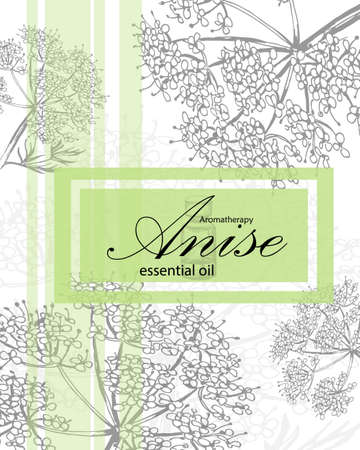 essential: label for essential oil of anise with hand drawn flowers