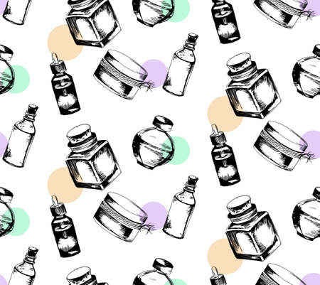 phial: seamless pattern from bottles with essential oil for aromatherapy in the style of hand drawn
