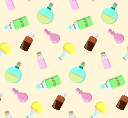 aromatherapy oil: seamless pattern from bottles with essential oil for aromatherapy Illustration