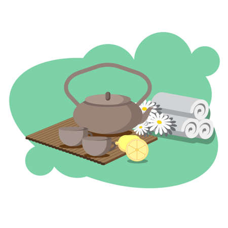 chamomile tea: the concept of Spa procedure with chamomile and lemon tea service Illustration