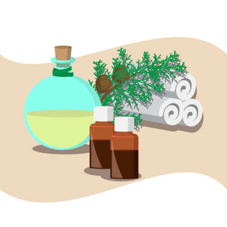 essential oil: the concept of Spa procedure with essential oil of cypress Illustration