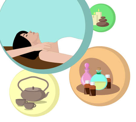 scented candle: the concept of Spa procedure with image of session of massage