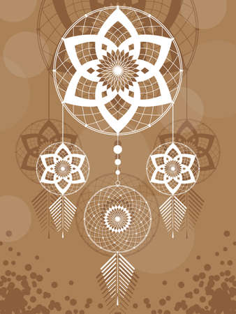 amulet of the Dreamcatcher from the three round elements and feathers on a brown background Illustration