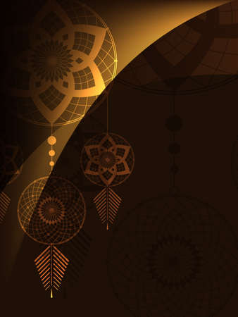 believer: amulet of the Dreamcatcher  on a brown background with light lines