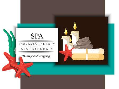 le concept de la cosmétologie, massage et procédure de spa avec l'image de bougie, pierre, serviette