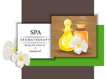 beauty spa: the concept of aromatherapy with image bottles with cosmetic oils and flowers