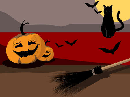 the concept of Halloween with image black cat, two pumpkins, which broom and five bats Illustration