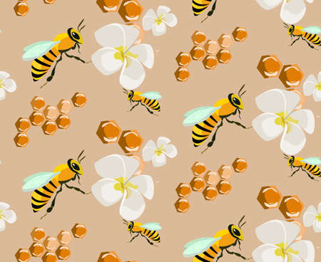 honey seamless pattern  agruculture  beekeeping  vector honeycomb Illustration