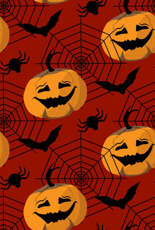 scary story: seamless pattern to the Halloween from pampkin, bat, spider web