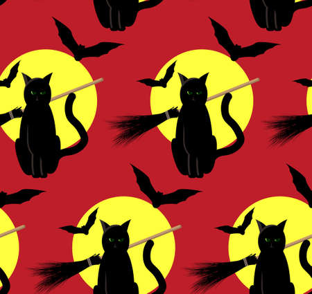 consternation: seamless pattern to the Halloween from cat, bats and witch broom