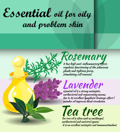 oily: description of useful properties of rosemary, lavender, tea tree essential oils  care for oily skin