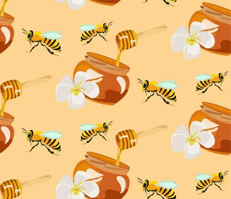 beekeeping: honey seamless pattern  agruculture  beekeeping  honey bees