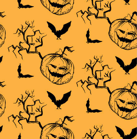 scary story: seamless pattern to the Halloween in the style of hand drawn