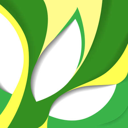 broadsheet: Abstract background with green and yellow figure. Template of cover sheet