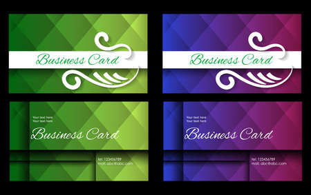 variants: business card in two variants of green and blue tones