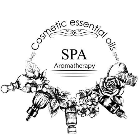 ricreazione: il concetto di aromaterapia e massaggio. Stile di disegnata a mano. illustrazione di vettore
