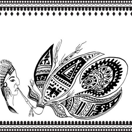 indigene: vector illustration. Indian motifs (redskin man). Freehand sketch Illustration