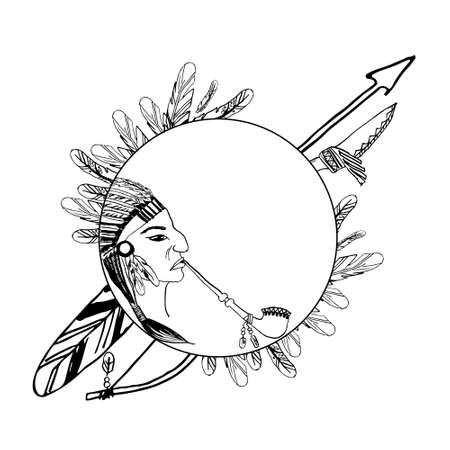 indian weapons: vector illustration. Indian motifs with redskin smoking man and weapons