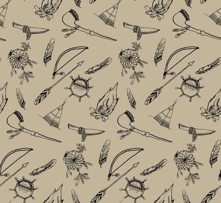 redskin: seamless pattern Indiam motifs (motifs of redskin man). freehand sketch