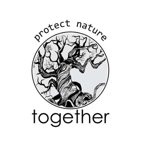 conservancy: slogan of nature conservancy. Round frame. Hand drawn tree.