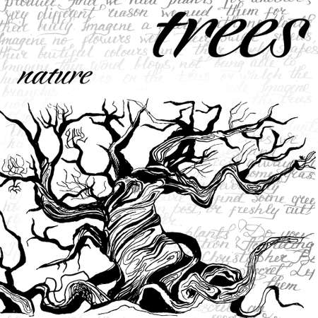 conservancy: concept of nature conservancy. Hand drawn tree. Word`s background
