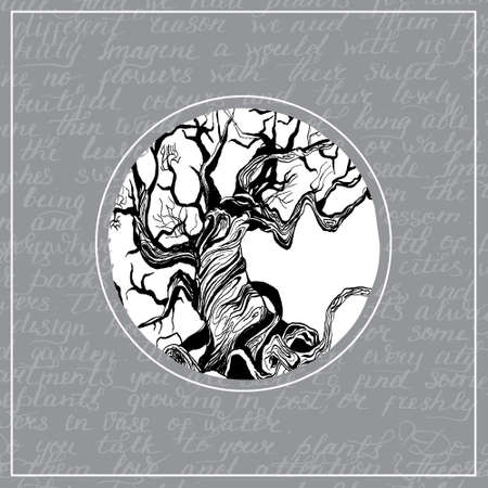 conservancy: concept of nature conservancy. Round frame. Hand drawn tree. Word`s background
