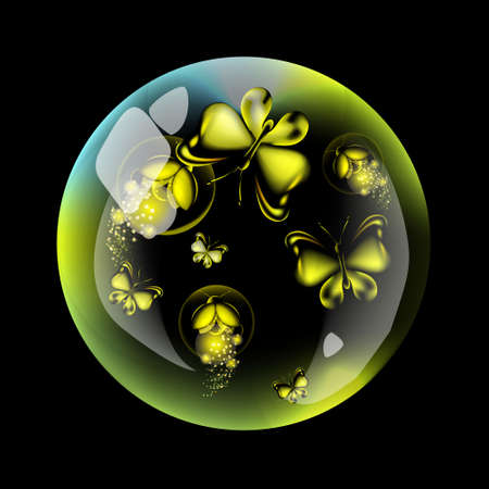 Butterfly and firefly into the bubble. Yellow insect on the dark background.