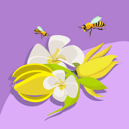 flying bees pollinate a bouquet of flowers on the purple background