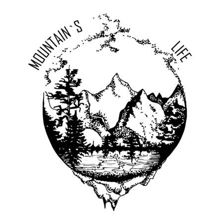 image of mountains rivers and forests in range. hand drawn vector illustration