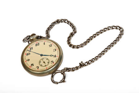 vintage pocket watch with chain isolated on white photo