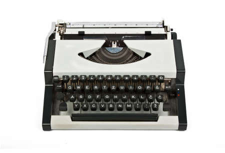 letters and keyboard of sllver shiny typewriter Stock Photo - 12209356