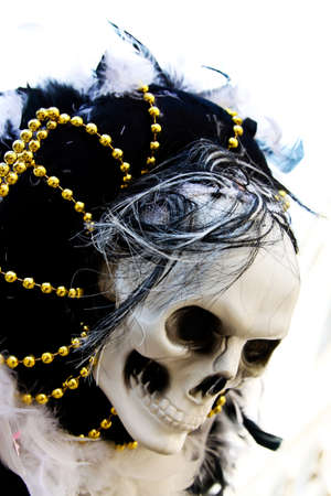 venice carnival present one skull on the hat Stock Photo - 12553379