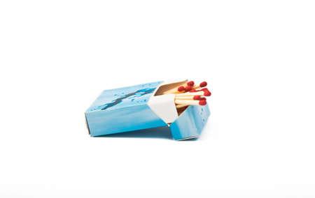 opened  matches box isolated on white background