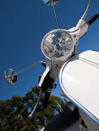 front side with main light of scooter Stock Photo