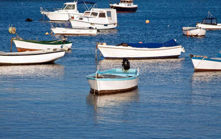 several fishing boats relax on spring sun photo