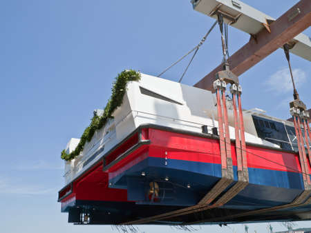launching new catamaran in shipyard