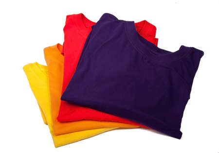 yellow, orange, red and violet t-shirts