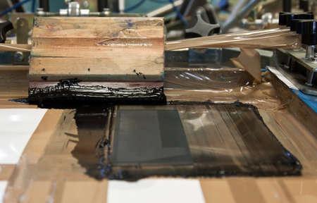 black ink and hand printing machine