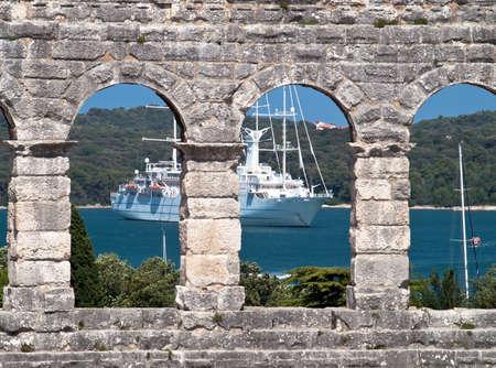 amphitheater windows and cruise ship Stock Photo - 14209228