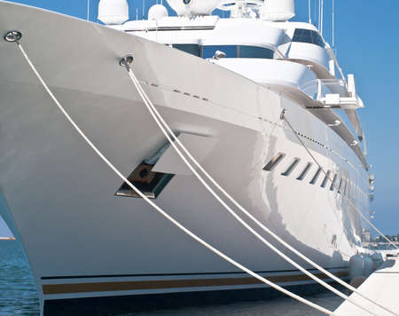 modern luxury yacht in dock Stock Photo