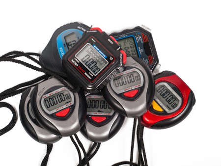 altogether: eight digital stop watches altogether