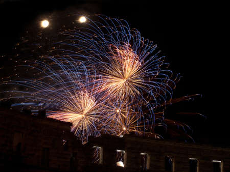 fireworks over ancient amphitheater, Pula, Croatia