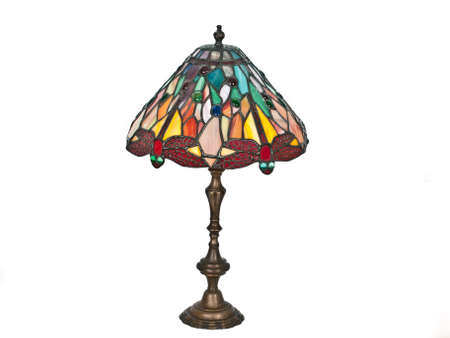 table lamp with red dragonfly