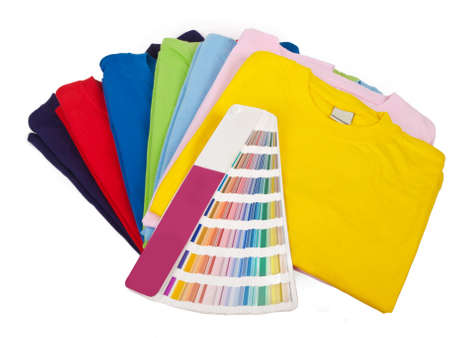 color chart and seven blank t-shirts