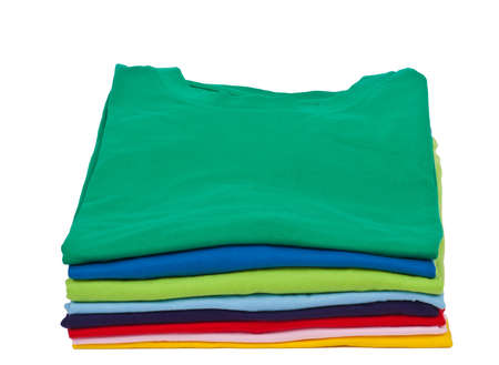 stack of colorful short sleeves t shirts