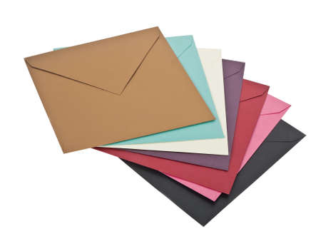 several colorful envelops isolated on white background